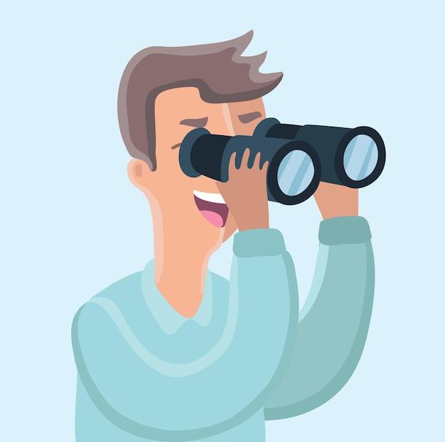 Ilustración divertida de dibujos animados del hombre mirando a través de binoculares
