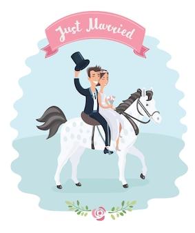 Ilustración divertida de dibujos animados de novios en caballo blanco.