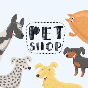 Ilustración divertida de dibujos animados de plantilla de diseño para tiendas de mascotas