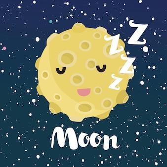 Ilustración divertida de dibujos animados de sleeping moon con linda cara sonriente. cielo nocturno espacial con estrellas.
