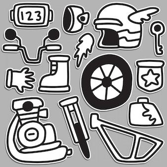 Ilustración divertida del diseño del doodle de la moto