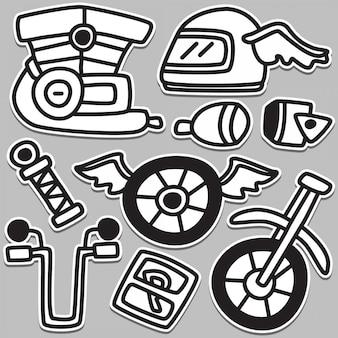 Ilustración divertida del diseño del tatuaje del doodle de la moto