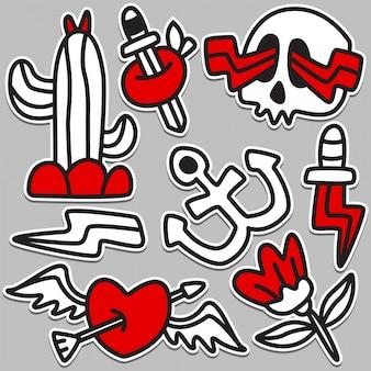 Ilustración divertida del diseño del tatuaje del doodle