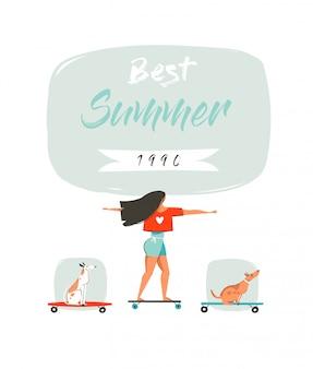 Ilustración divertida del horario de verano con una niña montada en una tabla larga, perros en patinetas y tipografía moderna best summer
