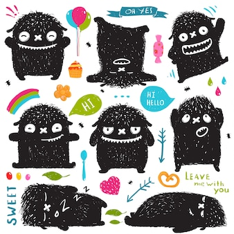 Ilustración divertida linda de little black monster collection