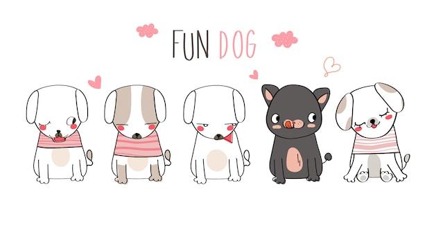 Ilustración divertida linda del perro