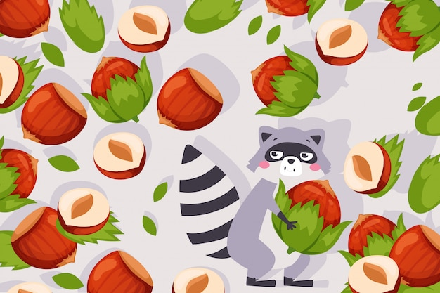 Ilustración divertida del mapache, personaje de dibujos animados lindo que lleva avellana