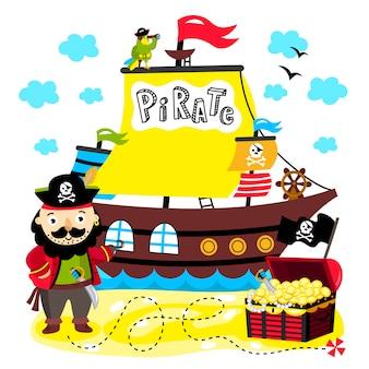 Ilustración divertida pirata para niños