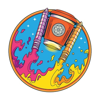 Ilustración divertida del transbordador espacial del café del humor en estilo plano