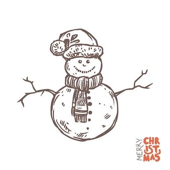 Ilustración de divertido muñeco de nieve con gorro de papá noel y bufanda tejida
