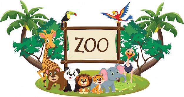 Ilustración de divertidos dibujos animados de animales zoológicos