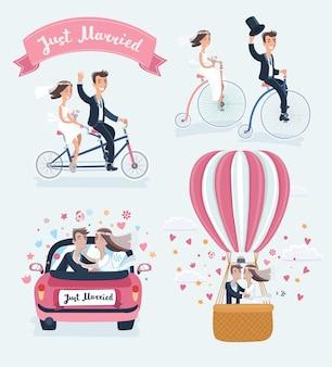 Ilustración de divertidos dibujos animados de escenas de recién casados felices