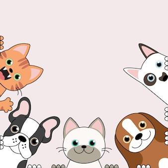 Ilustración de divertidos dibujos animados de perros y gatos lindos mejores amigos.