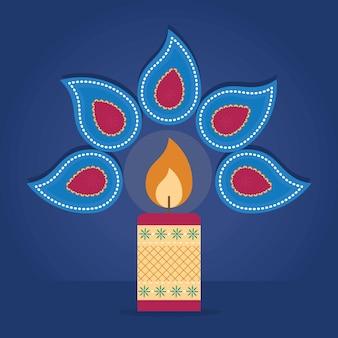Ilustración de diwali con paisleys