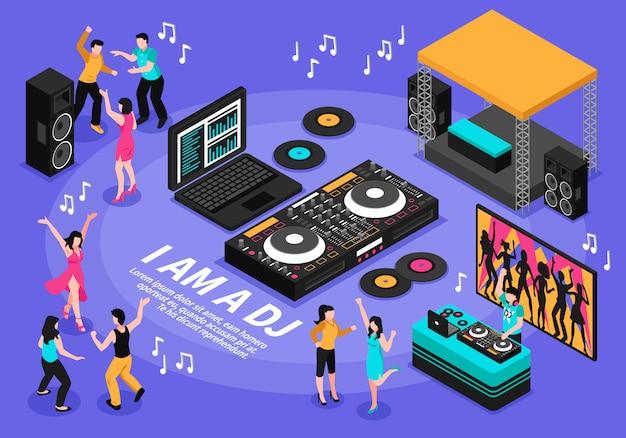 Ilustración de dj y música