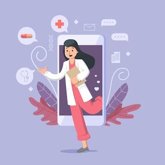 Ilustración de doctor en línea