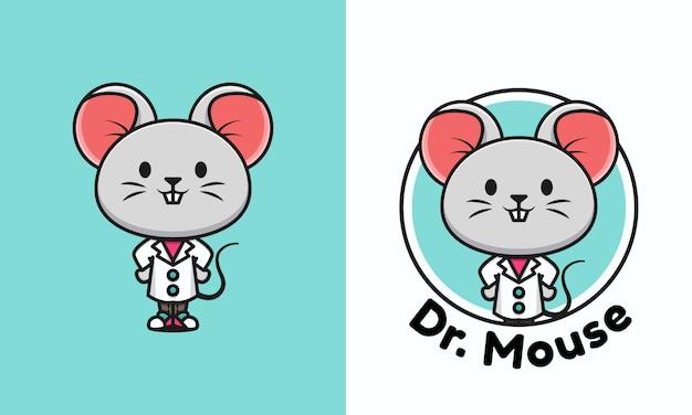 Ilustración de un doctor ratón lindo. plantilla linda del logotipo del ratón del doctor