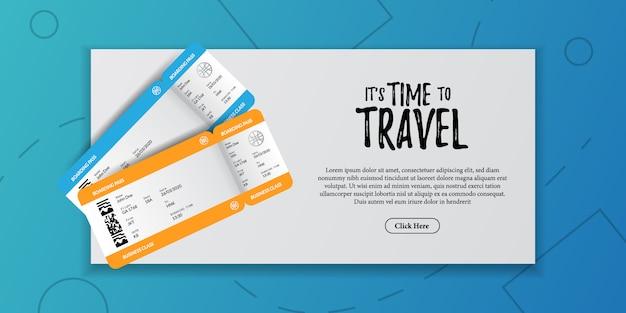 Ilustración de documento de vacaciones de viaje. tarjeta de embarque billete de avión vista superior. publicidad turística de vacaciones
