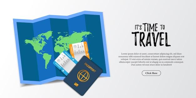 Ilustración de documento de vacaciones de viaje. tarjeta de embarque boleto de avión, pasaporte, papel de mapas mundiales y vista superior de la tarjeta de crédito. publicidad turística de vacaciones