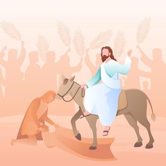 Ilustración de domingo de ramos degradado con jesús y burro