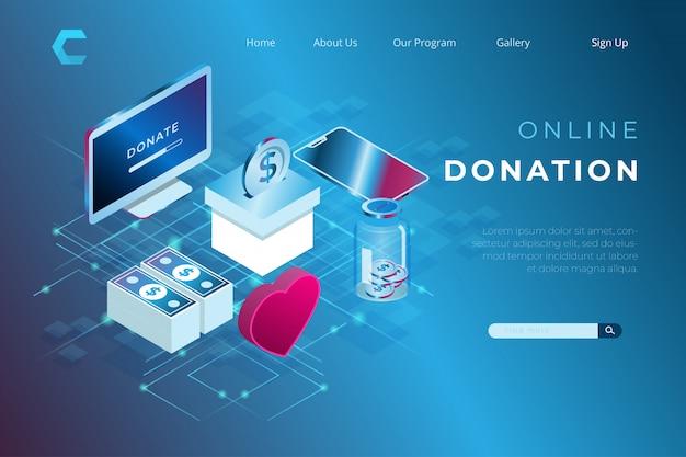 Ilustración de donación en línea para la humanidad en estilo isométrico 3d