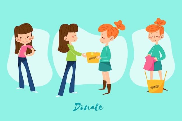 Ilustración de donación de ropa dibujada