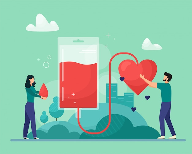 Ilustración de donación de sangre. concepto de emergencia y transfusión de sangre. apoyo al paciente recogida de sangre. ilustración de estilo plano de dibujos animados.