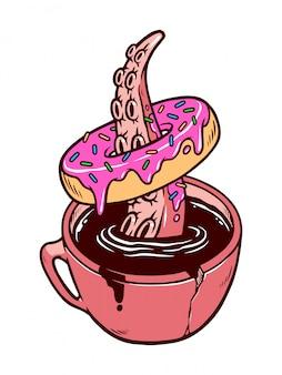 Ilustración de donas y café