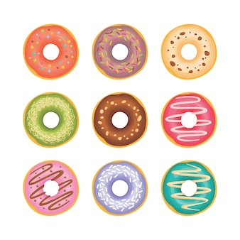 Ilustración de donuts con diferentes ingredientes