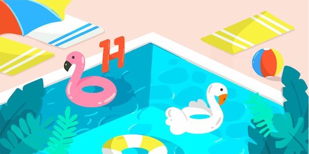 Ilustración de doodle de banner de piscina de verano soleado