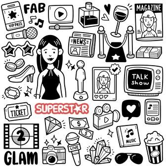 Ilustración de doodle blanco y negro de celebridades