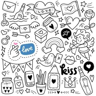 Ilustración de doodle blanco y negro de concepto de amor abstracto