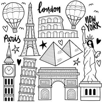 Ilustración de doodle en blanco y negro que viaja por el mundo