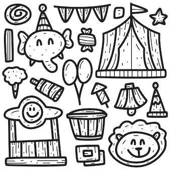 Ilustración de doodle de circo de dibujos animados kawaii
