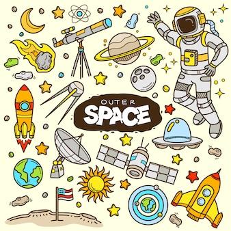 Ilustración de doodle de color de dibujos animados de espacio ultraterrestre