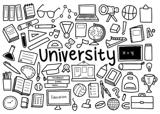 Ilustración de doodle de concepto de universidad