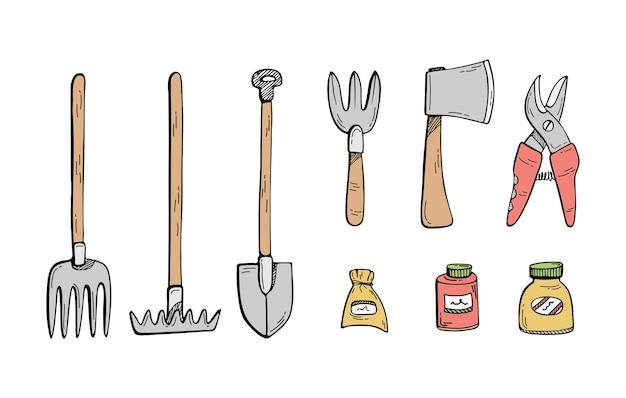 Ilustración de doodle de un conjunto de herramientas de jardinería
