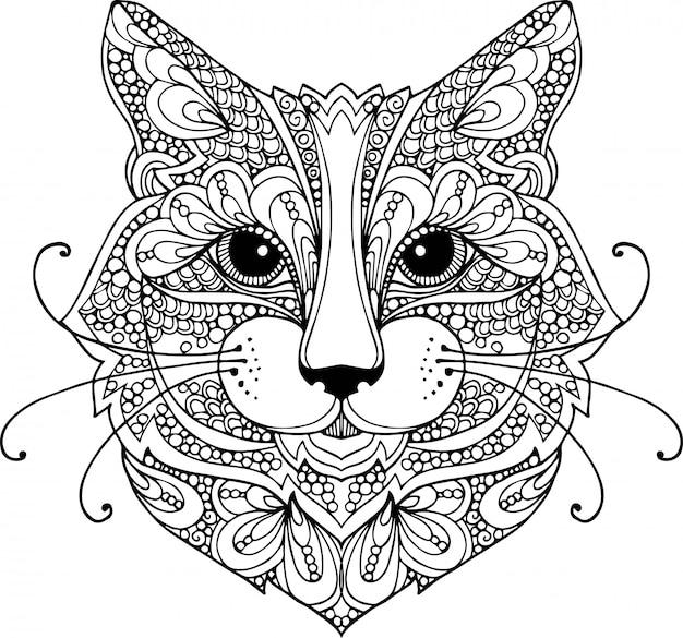 Ilustración de doodle de contorno dibujado a mano de una cabeza de gato decorada con adornos