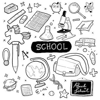 Ilustración de doodle dibujado a mano de la escuela