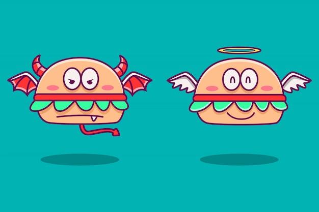 Ilustración de doodle de dibujos animados de hamburguesa de ángel y diablo