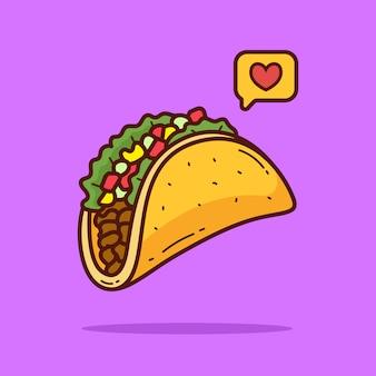 Ilustración de doodle de dibujos animados de taco