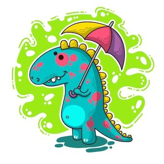 Ilustración de doodle dino fresco