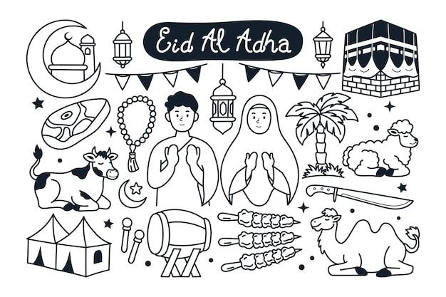 Ilustración de doodle de eid al adha