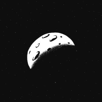 Ilustración de doodle de galaxia de vector blanco de luna creciente pegatina