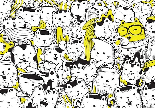 Ilustración de doodle gatos y café en estilo de dibujos animados