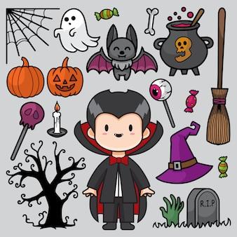 Ilustración de doodle de halloween feliz