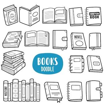 Ilustración de doodle de libros blanco y negro