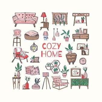 Ilustración de doodle lindo hogar acogedor