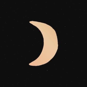 Ilustración de doodle de luna creciente pegatina