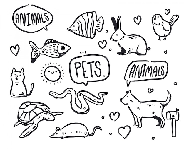 Ilustración de doodle de mascotas